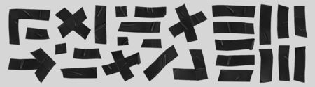 Black duct tape set. Realistic black adhesive tape pieces for fixing isolated on grey background. Scotch arrow, cross, corner and paper glued. Realistic 3d vector illustration. Vector Illustration