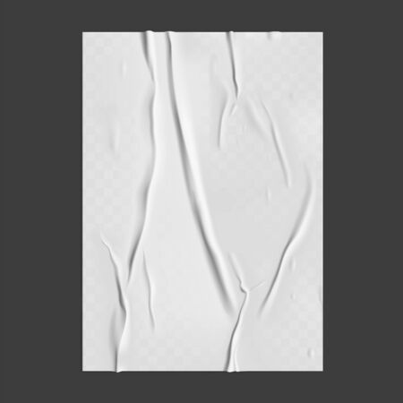 Glued paper with wet transparent wrinkled effect on gray background. White wet paper poster template with crumpled texture. Realistic vector posters mockup. Vector Illustration
