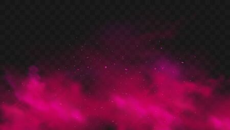 Red smoke or fog color isolated on transparent dark background. Abstract pink powder explosion with particles. Colorful dust cloud explode, paint holi, mist smog effect. Realistic vector illustration.