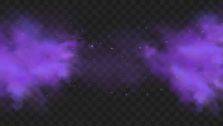 Purple smoke isolated on transparent dark background. Abstract purple powder explosion with particles and glitter. Smoke hookah, poison gas, violet dust, fog effect. Realistic vector illustration.