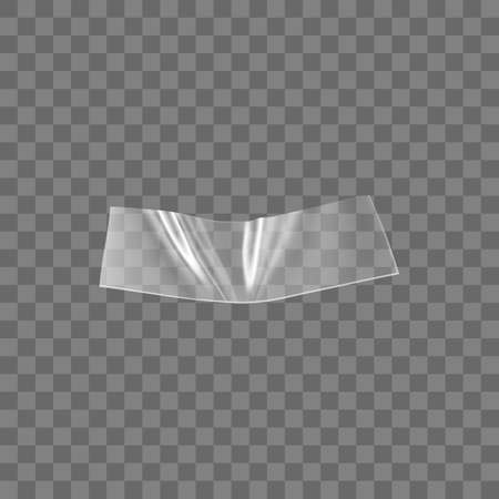 Transparent adhesive plastic tape isolated on transparent background. Crumpled glue plastic sticky tape for photo and paper fixture. Realistic wrinkled strips isolated 3d vector illustration.