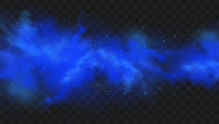 Blue smoke isolated on dark transparent background. Realistic blue magic mist cloud, chemical toxic gas, steam waves. Realistic vector illustration.
