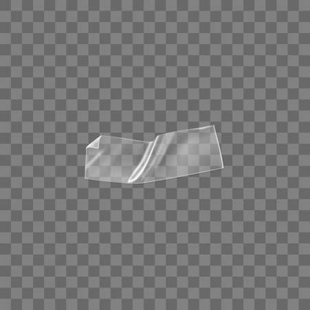 Transparent adhesive plastic tape isolated on transparent background. Crumpled glue plastic sticky tape for photo and paper fixture. Realistic wrinkled strips isolated 3d vector illustration. Vectores