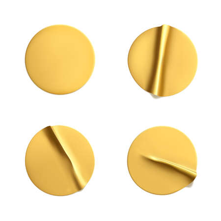 Gold round crumpled stickers mock up set. Adhesive golden foil or plastic sticker label with wrinkled effect on white background. Blank template label tags. 3d realistic vector. 向量圖像