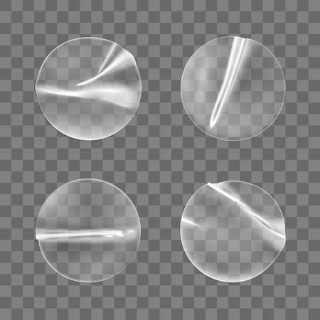 Transparent round adhesive stickers mock up set isolated on transparent background. Plastic crumpled round sticky label with glued effect. 3d realistic vector mockup.