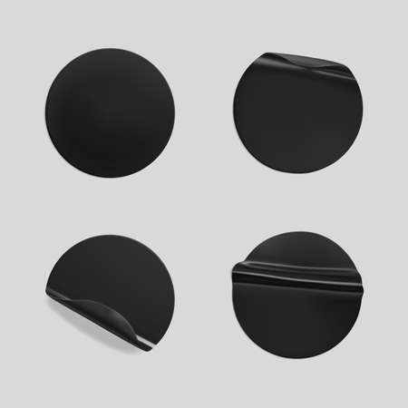 Black glued round crumpled sticker mockup set. Adhesive clear black paper or plastic stickers label with glued, wrinkled effect on gray background. Templates label or price tags. 3d realistic vector.