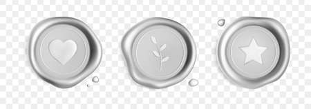 Silver wax seal stamp set with branch, heart and star isolated on white background. Realistic guaranteed stamps. Realistic 3d vector illustration.