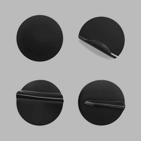 Black glued round crumpled sticker mockup. Adhesive black paper or plastic stickers label with glued, wrinkled effect on white background. Blank templates of a label or price tags. 3d realistic vector