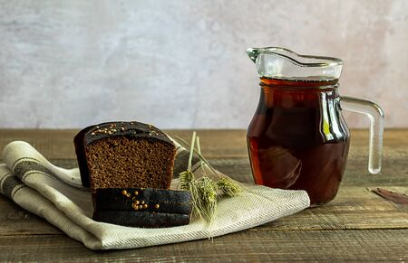 Russian traditional rye bread drink kvass. Copy space