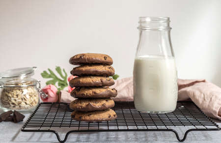 Chocolate oatmeal cookies with milk in the morning. Sweet children breakfast concept.