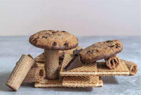 Geometry sweet treats. Trendy equilibrium food made from waffles and cookies.