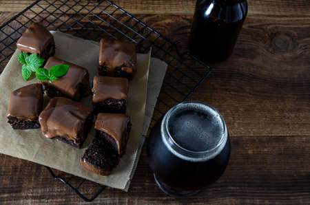 Chocolate Brownies sweet treats baked with craft beer stout with dark roasted coffee flavor.