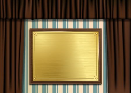 illustration of a gold or brass brushed metal plaque