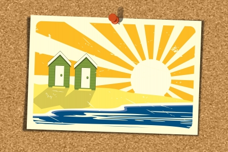 Illustration of a Beach Holiday Postcard pinned on a noticeboard  Postcard depicts beach huts by the sea on a sunny day   Illustration