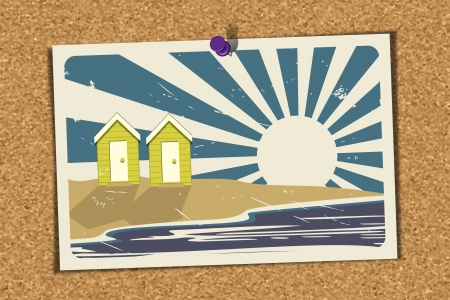 Illustration of a Beach Holiday Postcard pinned on a noticeboard  Postcard depicts beach huts by the sea on a sunny day   Stock Vector - 15870617