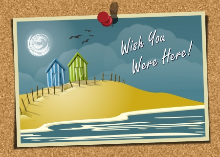 Beach Postcard On Noticeboard 1 Stock Vector - 15968395