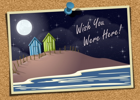 Beach Postcard On Noticeboard 2 Vector