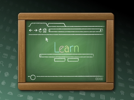 Illustration of a green Chalkboard Tablet with a worn wooden frame featuring a webpage. Good image for the concept of learning online.