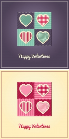 Valentines Card - Stitched Hearts Design - two color variations