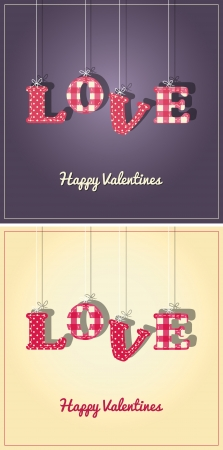 Valentines Card or background with the letters of Love hanging from string. Two color versions included.