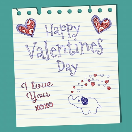 Happy Valentines Day Doodle On Notepaper Illustration