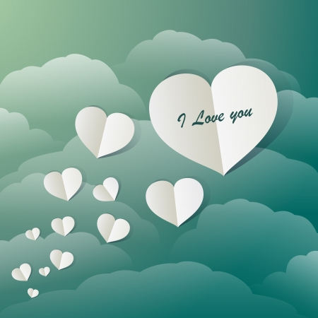 Flying Paper Hearts In A Vintage Blue Sky Stock Vector - 17514101