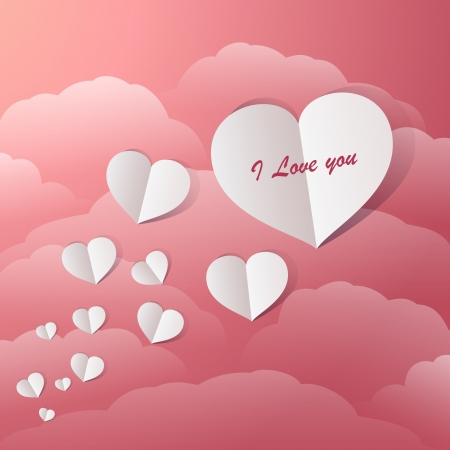 Flying Paper Hearts In A Vintage Pink Sky