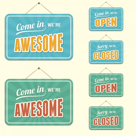 Shop Signs, Open, Closed and Awesome