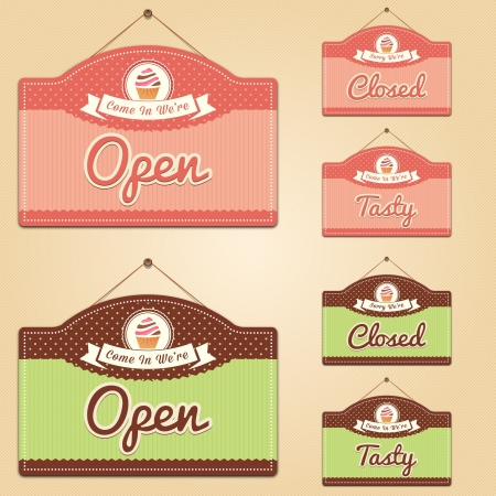 Cake Shop Signs, Open, Closed and Tasty Vector