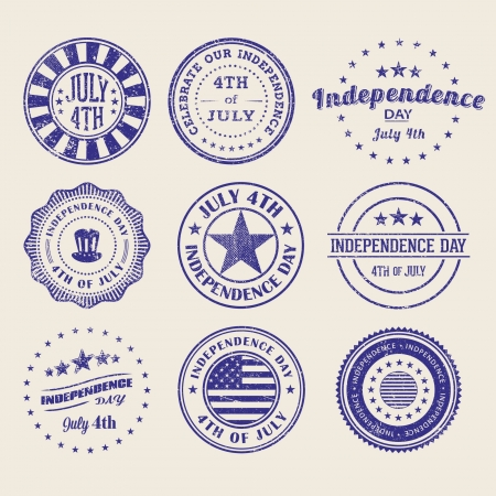 Independence Day StampsBadges Illustration