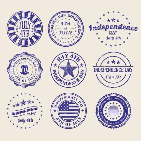 Independence Day StampsBadges Illustration