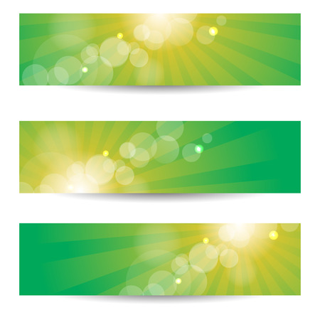 Banners Headers In Green And Yellow