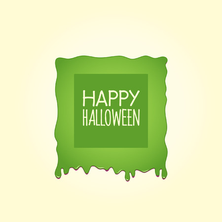 Happy Halloween In a Square Green Slime Sign