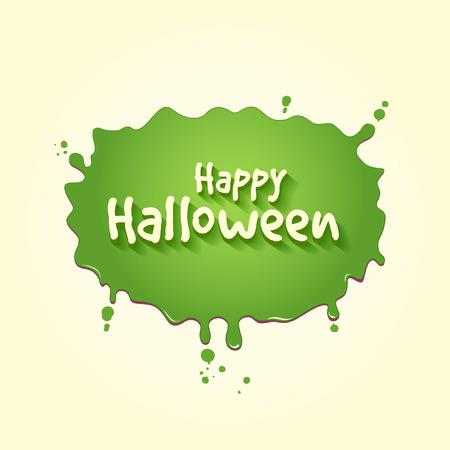 Happy Halloween On A Splat Of Green Slime Ilustração