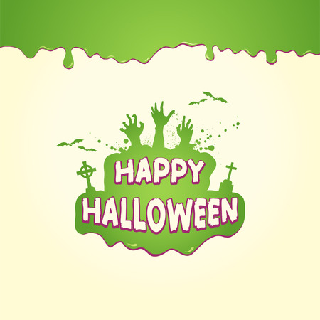 Happy Halloween Slime With Zombie Hands Silhouette Illustration
