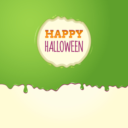 Happy Halloween Surrounded By Green Slime In A Circle Shape Illustration