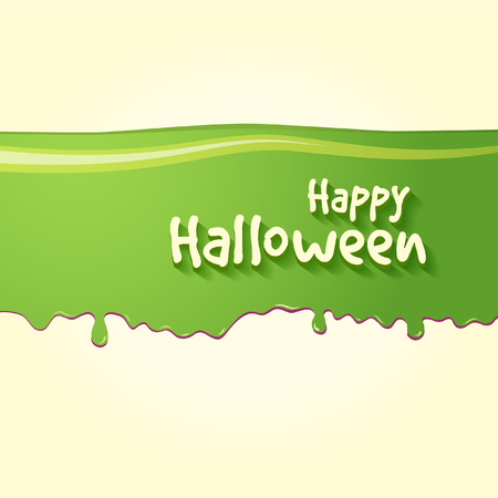 Happy Halloween Text In Horizontal Stripe Of Green Slime