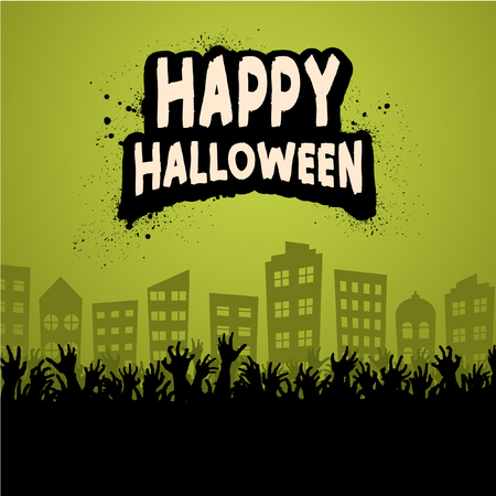 Happy Halloween Zombie Crowd Silhouette