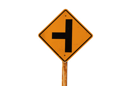 junction: yellow traffic  sign; turn left junction Stock Photo