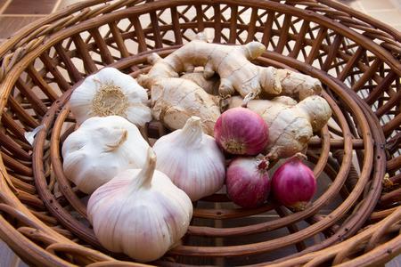 shallot: garlic , ginger , shallot in basket Stock Photo