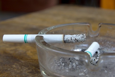 ashtray: cigarette with ashtray Stock Photo