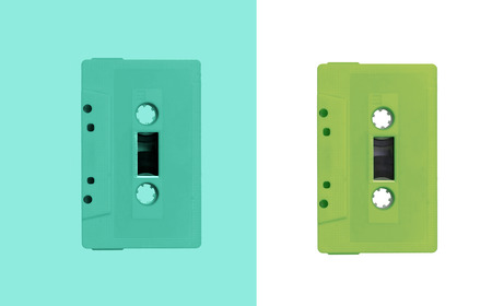 cassette tape: two tone vintage color of tape cassette Stock Photo