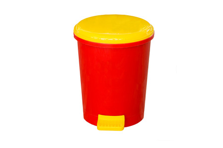 big bin: red bin with white background Stock Photo