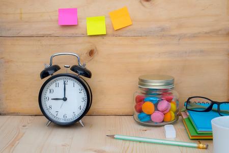 clock on desktop ,workplace 写真素材