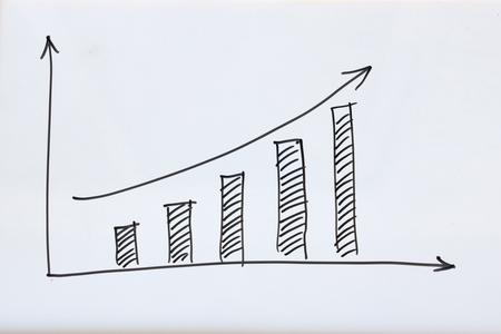 비즈니스 성장 그래프 화이트 보드에 그립니다.