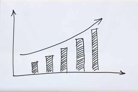 business growth graph draw on white board Stock Photo