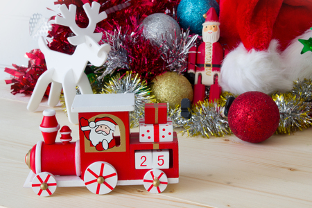 december 25th: The train of Santa Claus decorative on Christmas 25th December Stock Photo