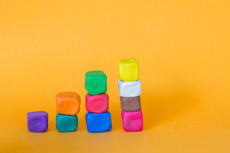 modeling clay: blocks of colorful modeling clay, stack of cube