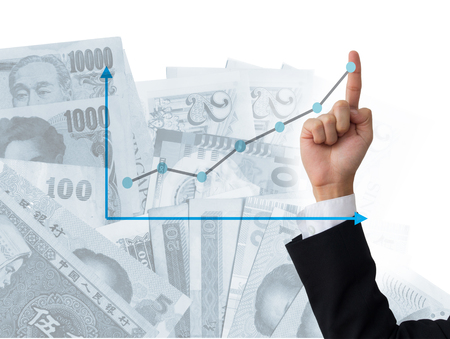 Business man with finger sign number one with graph and money on background