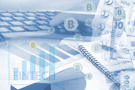 security technology: FINTECH and Bitcoins concept